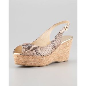 Jimmy Choo Praise Snake Print Cork Wedge